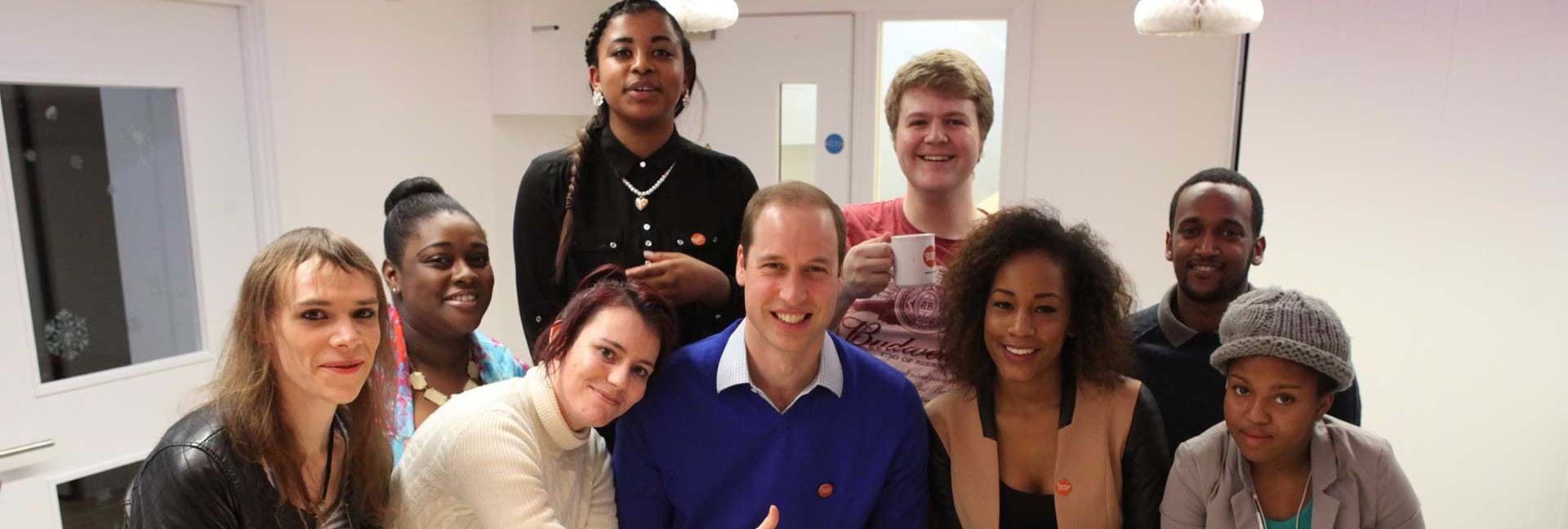 HRH The Duke of Cambridge with Centrepoint young people.
