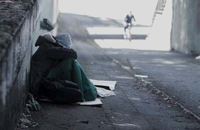 A homeless young person out on the streets.