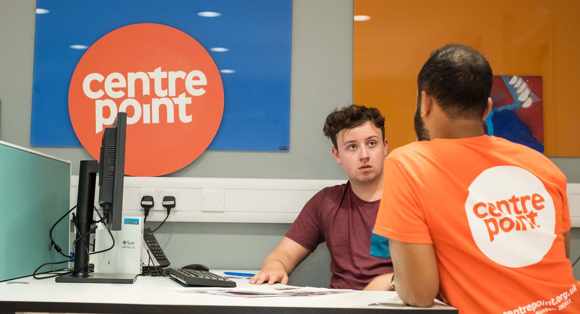 A homeless young person being supported by a Centrepoint keyworker.