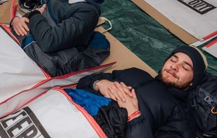 A man supports the charity Centrepoint by taking part at their annual Sleep Out event.
