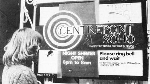 A girl outside the Centrepoint Soho centre for homeless young people in the 1970s. 2019 marks Centrepoint's 50th anniversary.