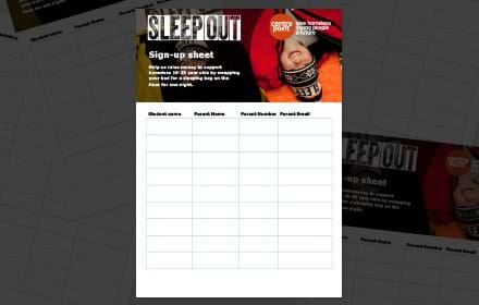Sleep Out sign-up sheet