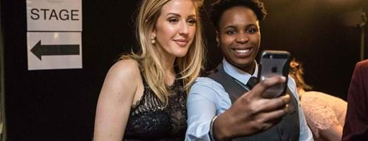 Centrepoint Award winner Cynthia Ijiekhuamhen grabs a selfie with Ellie Goulding at Centrepoint at the Palace.JPG