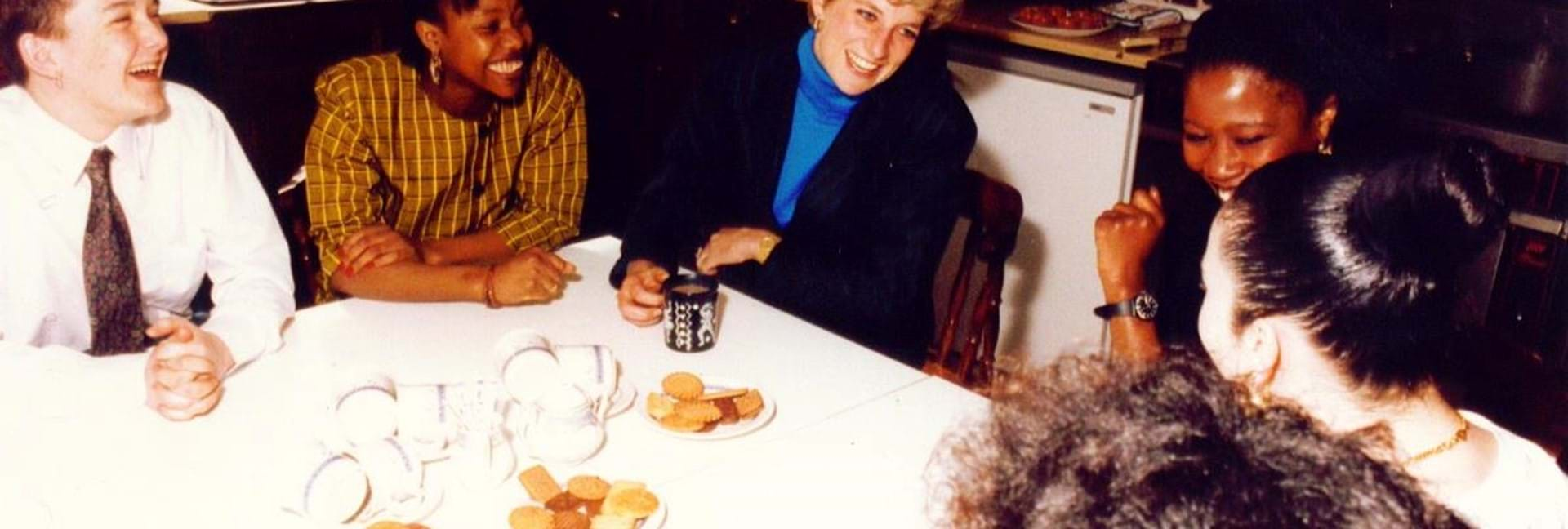 Princess Diana visiting Centrepoint young people