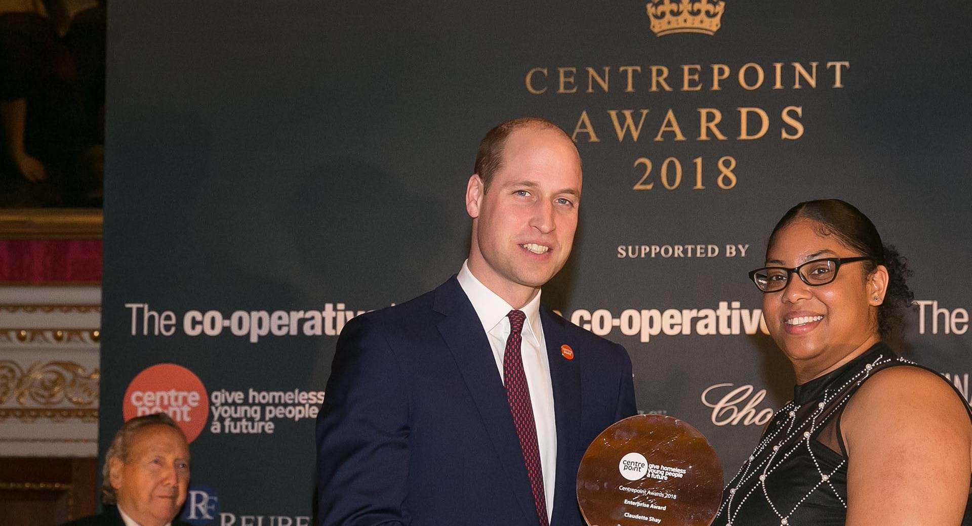 Centrepoint Award winner Claudette with HRH The Duke of Cambridge