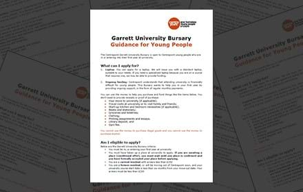 Garrett University Bursary, guidance for young people.