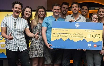 Warner staff with a Centrepoint cheque