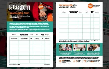 Sleep Out sponsorship form
