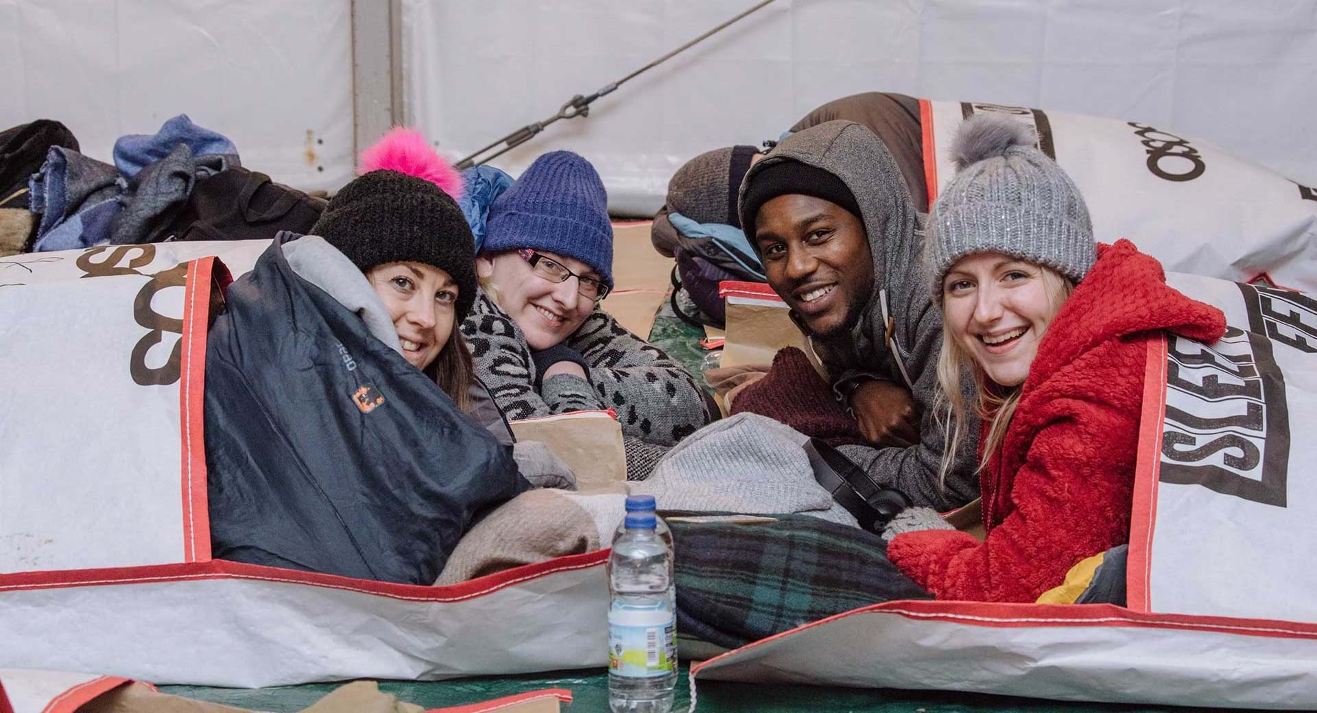 Participants at Centrepoint's Sleep Out event, raising money for homeless young people.