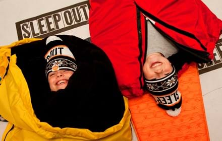 Children taking part in Sleep Out.