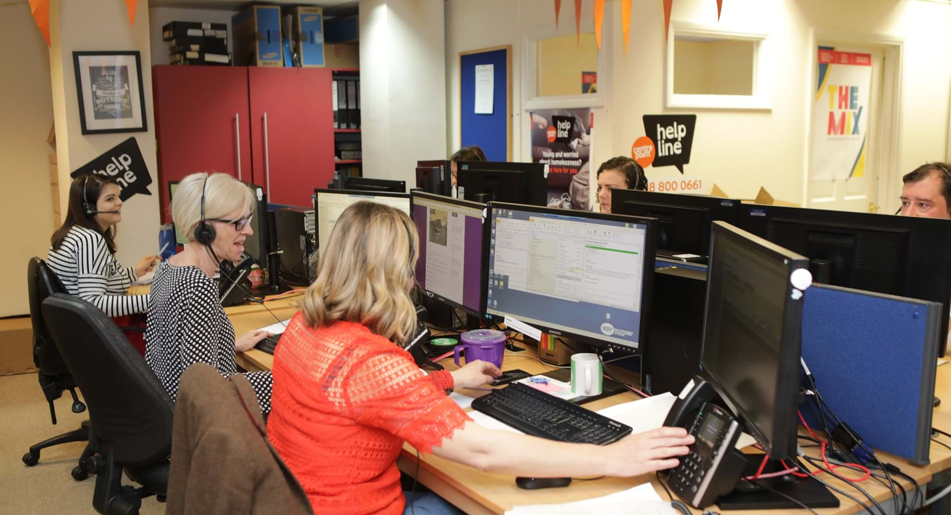 An image of The Centrepoint Helpline office,  which is the only Helpline for homeless young people.