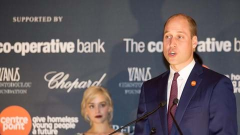 The Duke of Cambridge gives his speech at the Centrepoint Awards.
