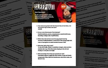 Sleep Out quiz questions