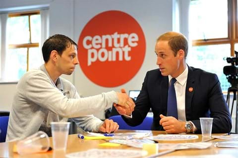 Prince William, our charity's patron, meets young father Joe at our Bradford Foyer in 2014.