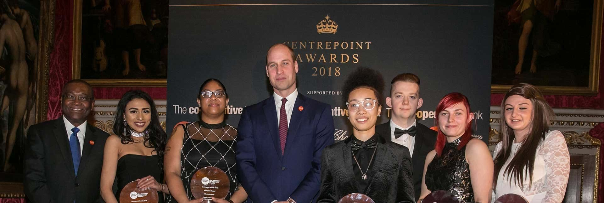 The Duke of Cambridge with the Centrepoint Awards winners and Seyi Obakin.